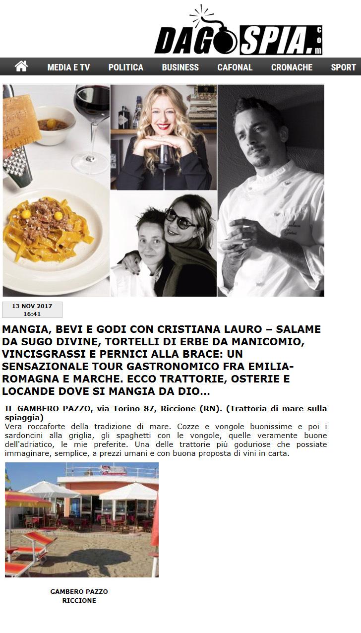 Dagospia – Mangia, bevi e godi con Cristiana Lauro