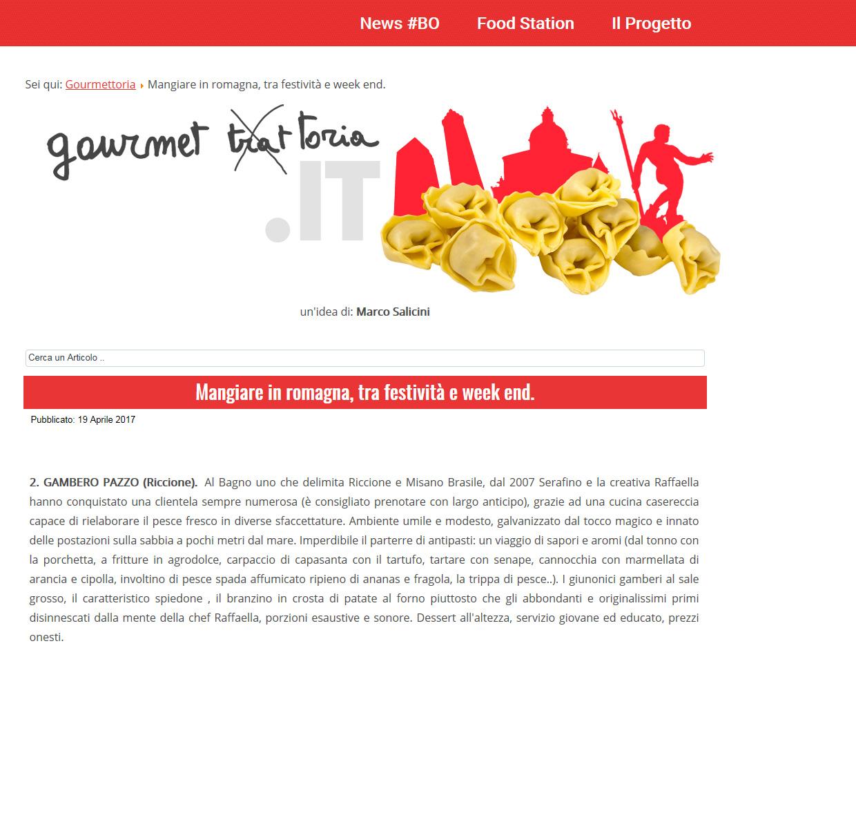 Gourmettoria – Mangiare in Romagna fra festività e week end.